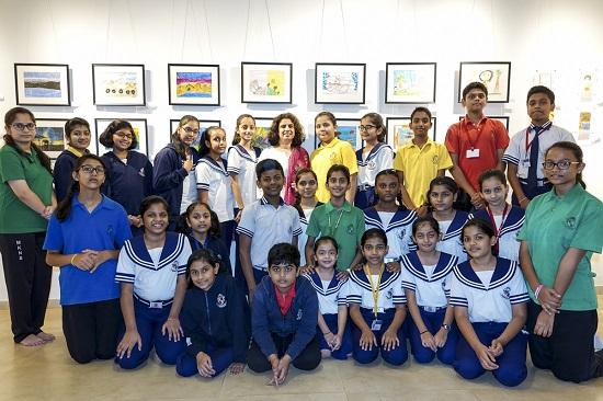 Art teacher Swati Kunte with her students from Mansukhbhai Kothari National School, Pune