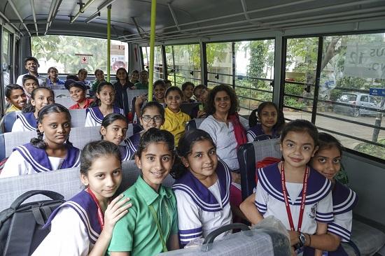 Children from Mansukhbhai Kothari National School in their bus