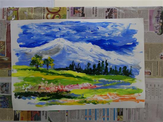 Painting done by Chitra Vaidya during the demonstration at Khula Aasmaan workshop, New English Medium School, Pune