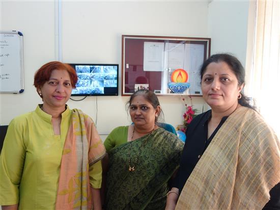 (L-R) Swati Joglekar, Abha Telang, Chitra Vaidya at New English Medium School, Pune