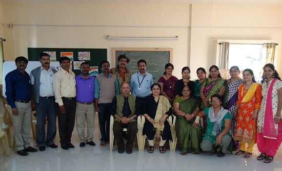 Milind Sathe and Chitra Vaidya with Art teachers of schools of Deccan Education Society, Pune