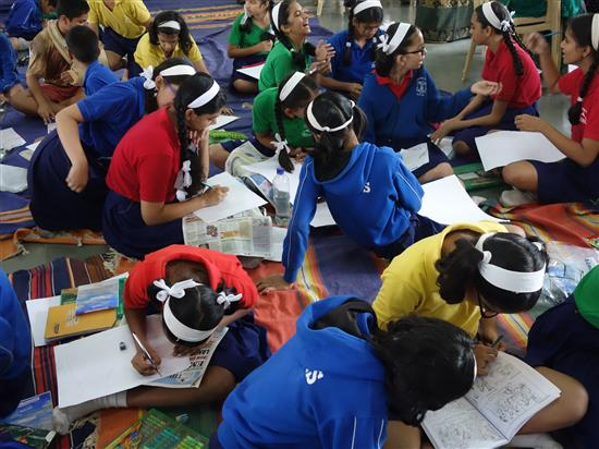 Children painting at Khula Aasmaan workshop, New English Medium School, Pune - 4