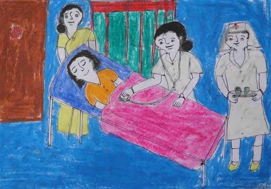 Shilpa (class 9) talks about her dream painting - painting of a doctor