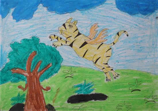 Vaishali Mandal (class 7) on her painting of flying tiger