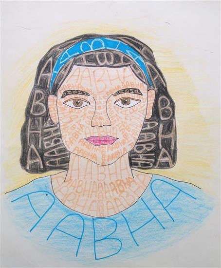 bronze medal in Khula Aasmaan children art contest for this self portrait painting by Abha Kanvinde