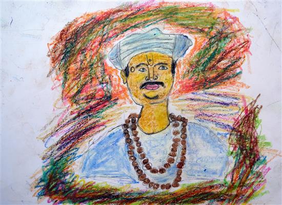 Jagdeesh (class 8) talks about his painting of Sant Tukaram