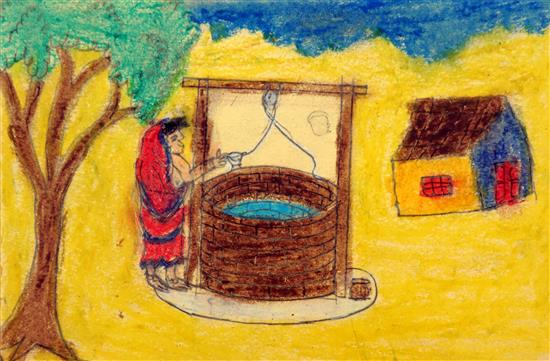 Rutika Dhinde (class 6) talks about her rural life painting