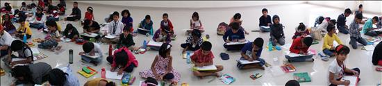 Panoramic view of Science Day painting contest
