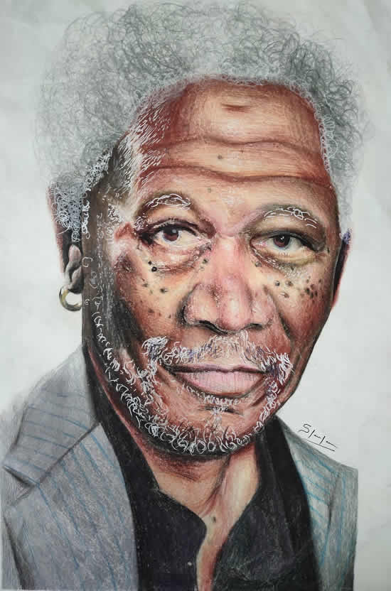 Bronze medal for this Morgan Freeman painting in Khula Aasmaan drawing and painting competition