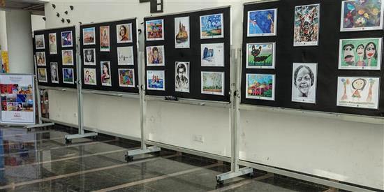 Khula Aasmaan painting exhibition display at IISER Pune