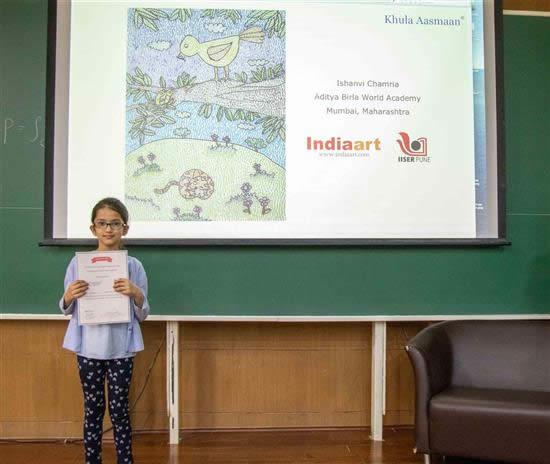 Ishanvi Chamria with her certificate