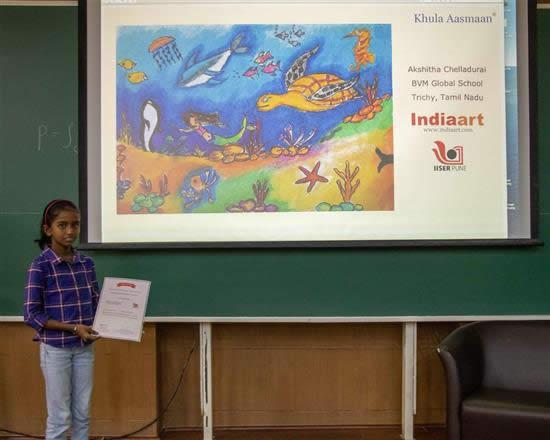 Akshitha Chelladurai with her certificate