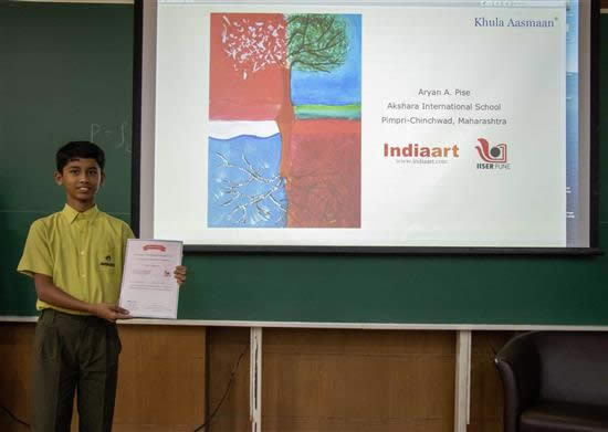 Aryan A. Pise with his certificate