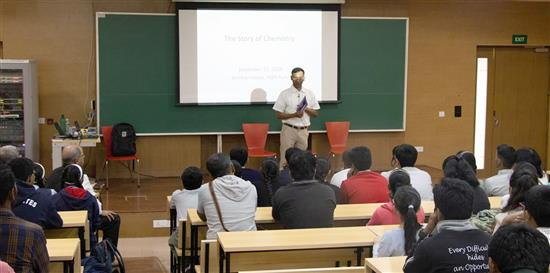 Dr. Anirban Hazra introducing Story of Chemistry