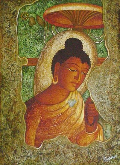 Painting  by Vijay Kulkarni - Buddha with Canopy (Ajanta series)