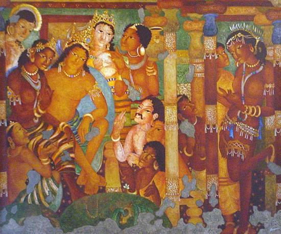 Artwork by vijay kulkarni birth of buddha ajanta series for Ajanta mural painting