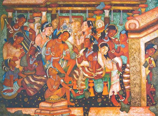 Artwork by vijay kulkarni mahajanaka ajanta series for Ajanta mural painting
