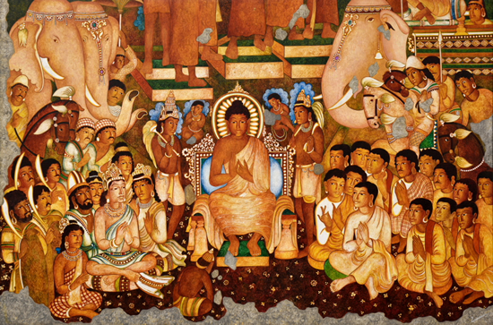 painting by Vijay Kulkarni - Preaching of Buddha (Ajanta series)