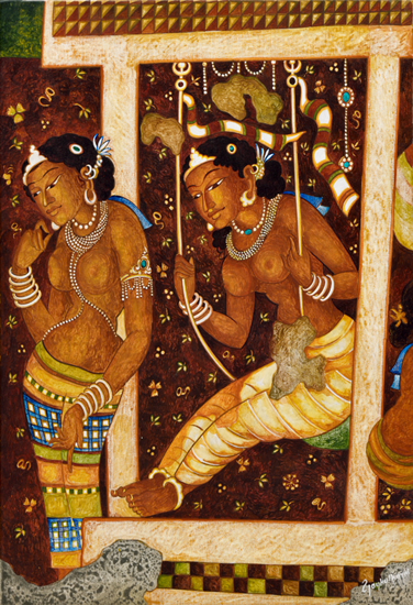 painting by Vijay Kulkarni - Arundhati on a swing (Ajanta series)