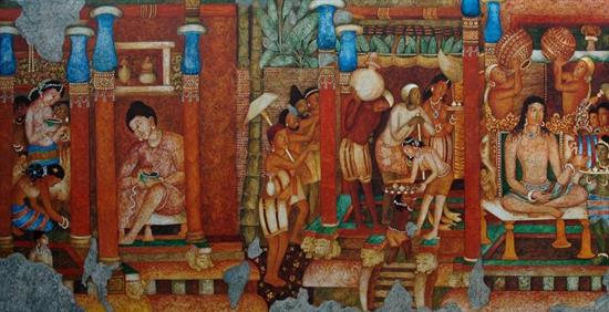 Painting  by Vijay Kulkarni - Royal Bath (Ajanta series)