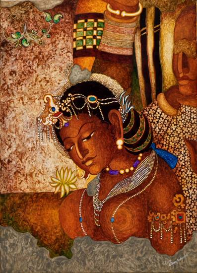 Princess (Ajanta series), painting by Vijay Kulkarni