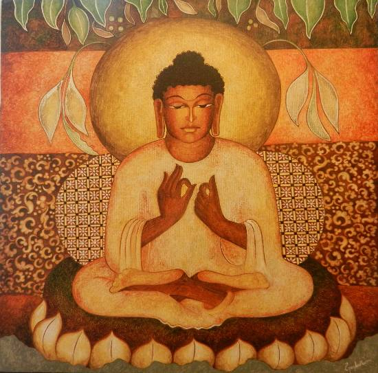 Buddha in Dhyanmudra (Ajanta series), Painting by Vijay Kulkarni