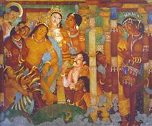 Birth of Buddha (Ajanta series), painting by Vijay Kulkarni