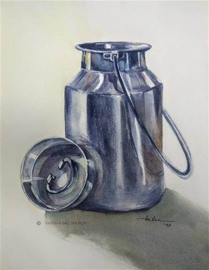 Steel Can - Still Life, painting by Varsha Shukla