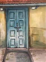 The Wooden Door, Painting by Varsha Shukla