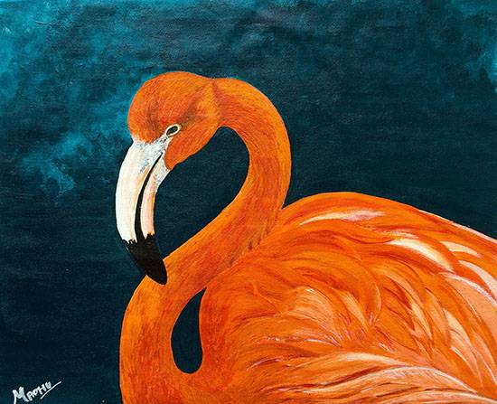 Flamingo 01, painting by Madhu Awasthi