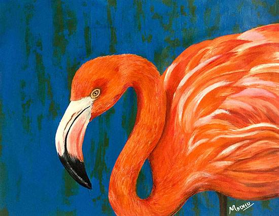Flamingo 02, Painting by Madhu Awasthi