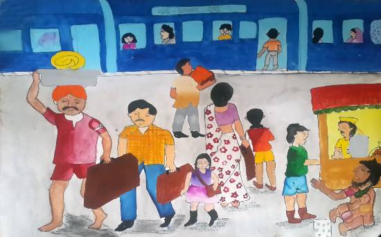 Painting  by Sunita M Bhakar - Train Journey