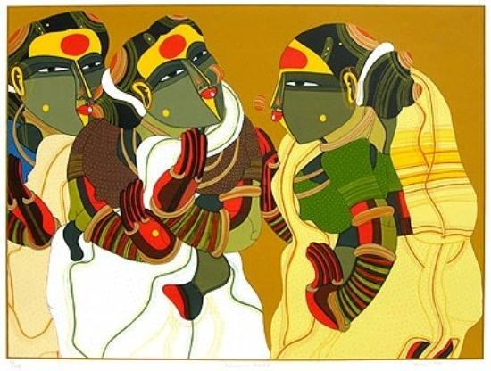 Women in Gossip, print by Thota Vaikuntam