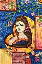 Serenity - Indian Woman, painting by Pushpa Sharma