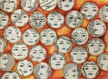 Faces, painting by Pushpa Sharma