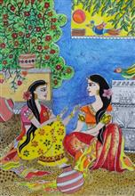 Gup-Shup - two women chitchatting in their leisure time, Painting by Pushpa Sharma