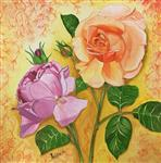 Paintings by Pushpa Sharma - Pink & Peach Roses Together