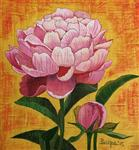 Paintings by Pushpa Sharma - Pink Peony with Bud