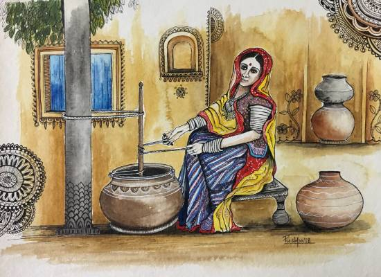 Indian Village Woman churning Buttermilk, painting by Pushpa Sharma