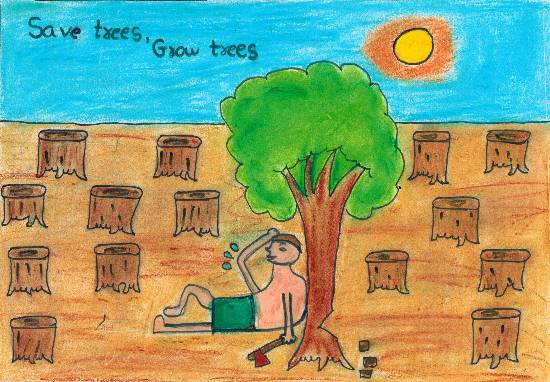 Painting  by Antara Ravindra Todankar - Save Trees Grow Trees