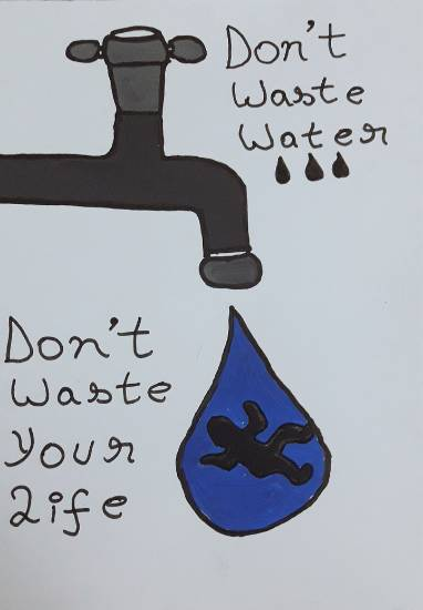 painting by Avishi Srivastava - Don't waste water