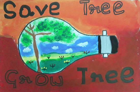 painting by Avishi Srivastava - Save and Grow Trees