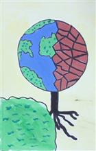 Painting  by Avishi Srivastava - World with and without trees