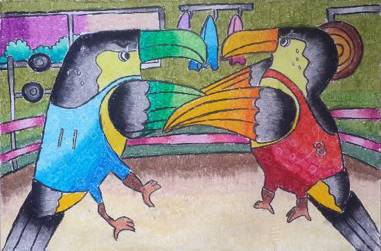 Painting  by Harshita Patra - Birds fighting