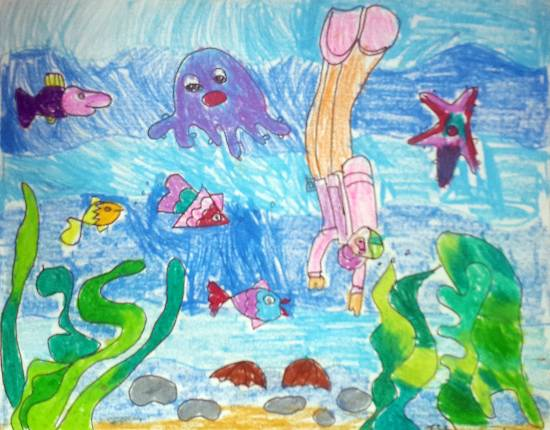painting by Ishani Karan Doshi - Scuba Diving