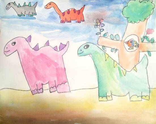 painting by Ishani Karan Doshi - The Daring Dinosaurs