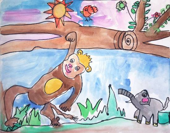 painting by Ishani Karan Doshi - A day in the forest