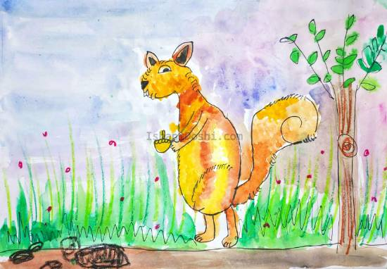 Painting  by Ishani Karan Doshi - Bouncy Squirrel