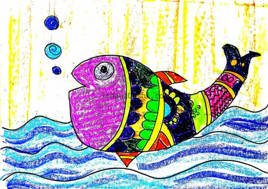 Painting  by Ishani Karan Doshi - Multicolor fish