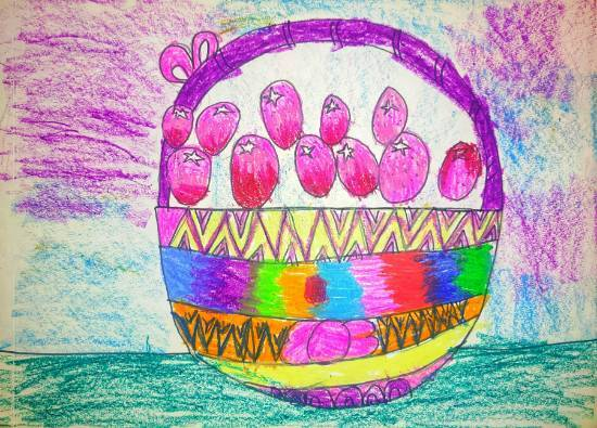 Colorful Basket, painting by Ishani Karan Doshi